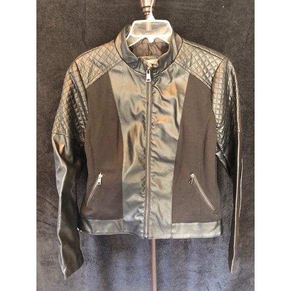 Roz & Ali Jackets & Blazers - FAUX BLACK LEATHER JACKET